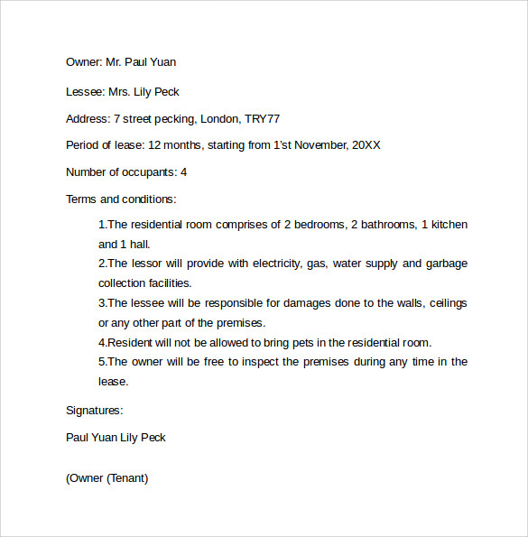 Letter Of Intent To Lease  Letter Of Intent For Lease Sample