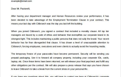 letter of intent to lease termination of contract letter template free word format
