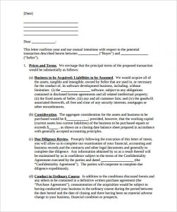 letter of intent to purchase business letter of intent to purchase a business template download