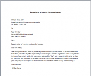 letter of intent to purchase business letter of intent to purchase business