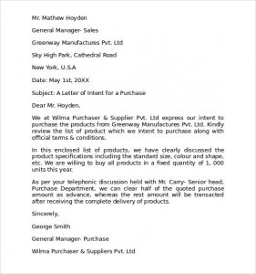 letter of intent to purchase business letter of intent to purchase products
