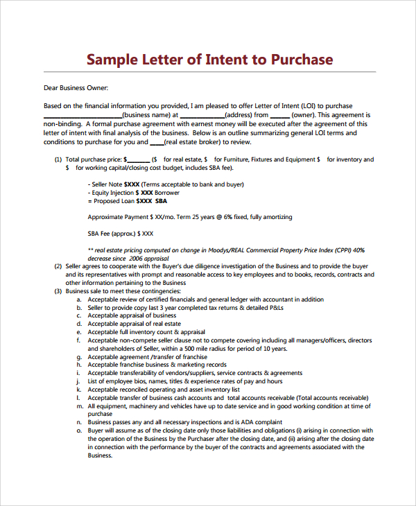 Land Acquisition Letter Of Intent