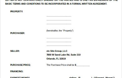 letter of intent to purchase real estate purchase letter of intent for commercial property word doc