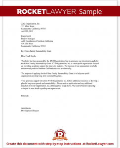 letter of intention sample letter of intent for grant for non profit form template