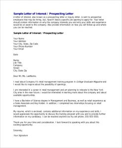 letter of interest for a job letter of interest for job sample