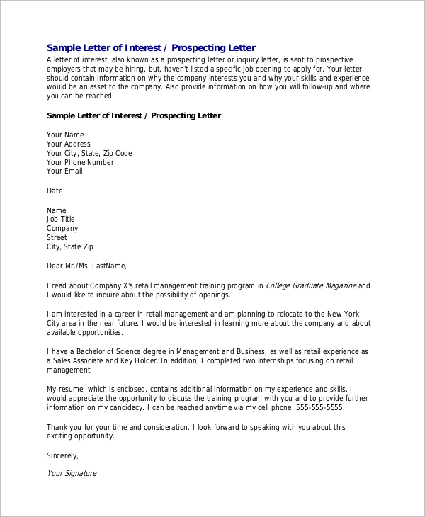 letter of interest for a job