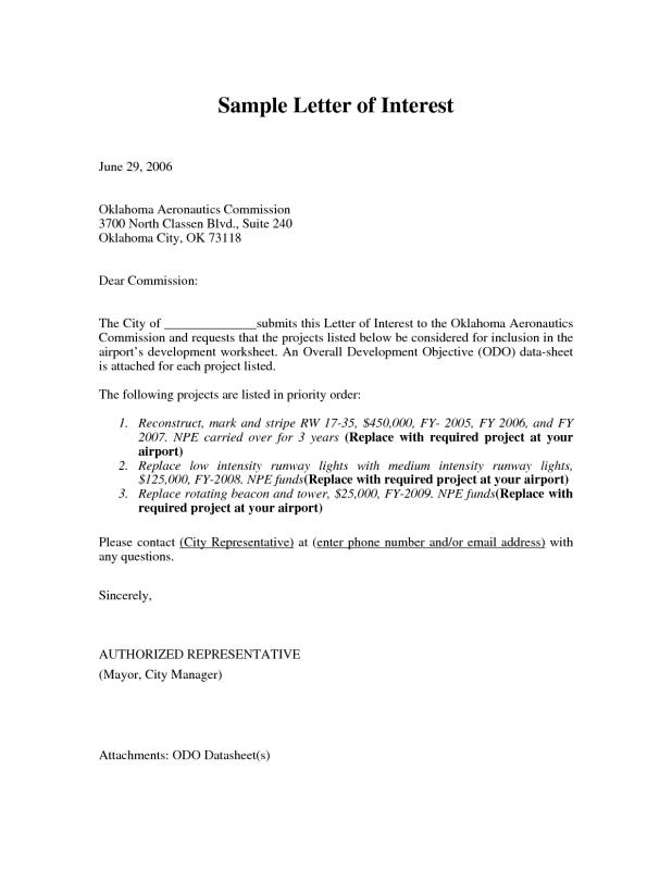 letter of interest for a job