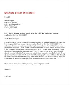 letter of interest sample example letter of interest