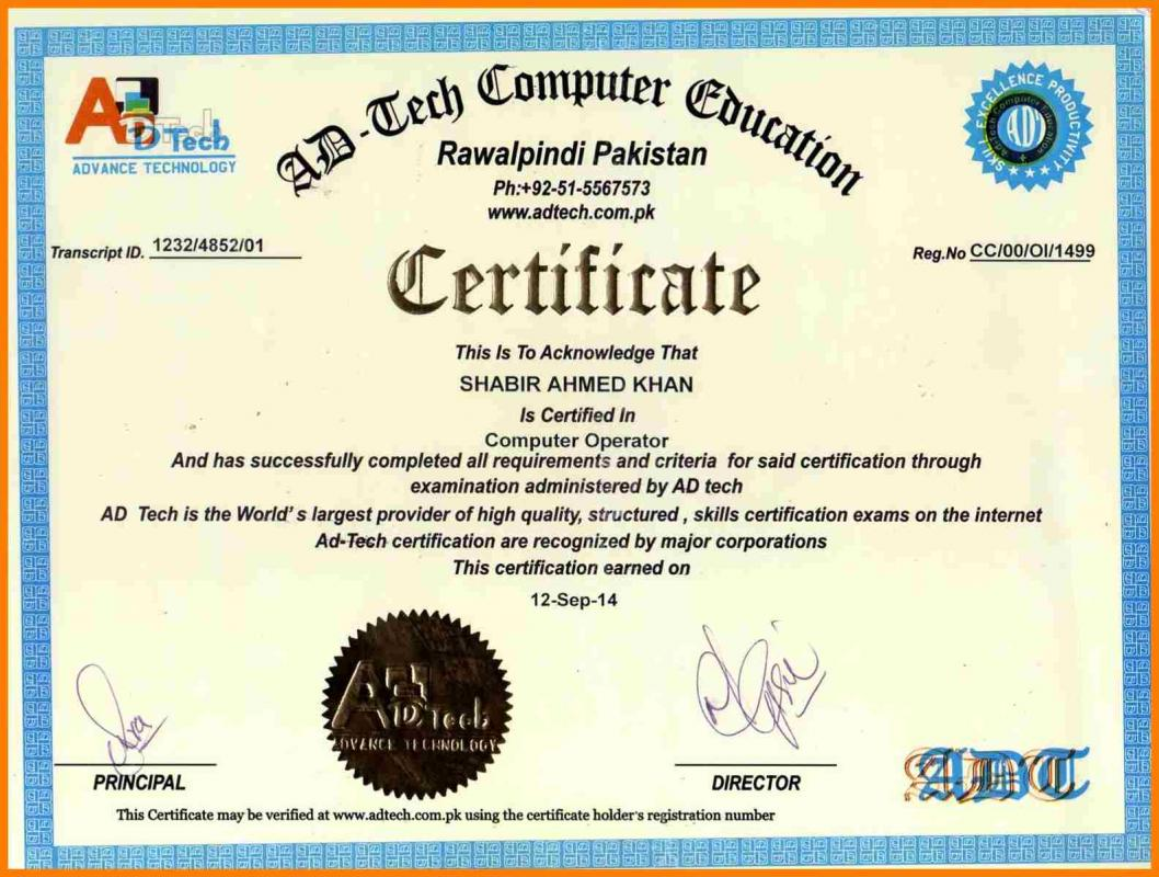 Computer Certificate Format Amazing Letter Of Introduction Template  Template Business