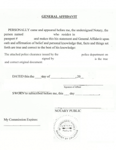 letter of knowing someone for immigration sample sample general affidavit for police clearance notarization