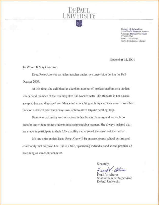 letter of rec format