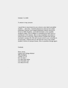 letter of recommendation for a student letter of recommendation template for student internship