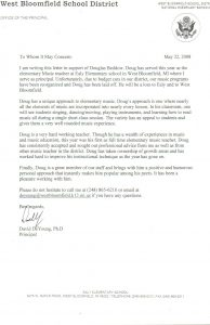 letter of recommendation for a teacher doug beddow music teacher recommendation letter