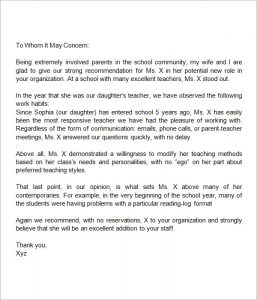 letter of recommendation for a teacher letter of recommendation for teacher from parent