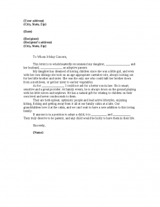 letter of recommendation for babysitter adoption reference letter