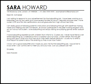 letter of recommendation for babysitter sample cover letter for a babysitting job