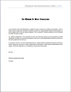 letter of recommendation for employment employee recommendation letter