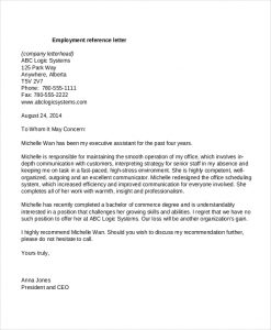 letter of recommendation for employment employment reference letters pdf