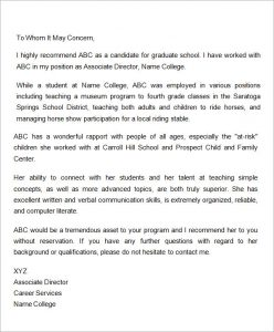 letter of recommendation for graduate school letter of recommendation for graduate school from employer