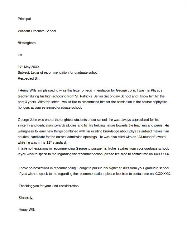 recommendation letter for grad school