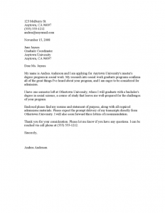 letter of recommendation for masters program graduate school application cover letter