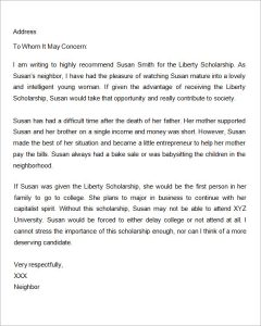 letter of recommendation for scholarship letter of recommendation for scholarship from friend