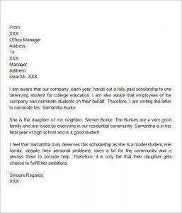 Scholarship Letter Format Template. letter of recommendation for scholarship  format Letter Of Recommendation For Scholarship Template Business
