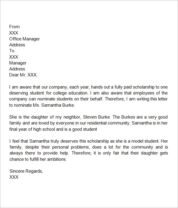 letter of recommendation for scholarship template business write