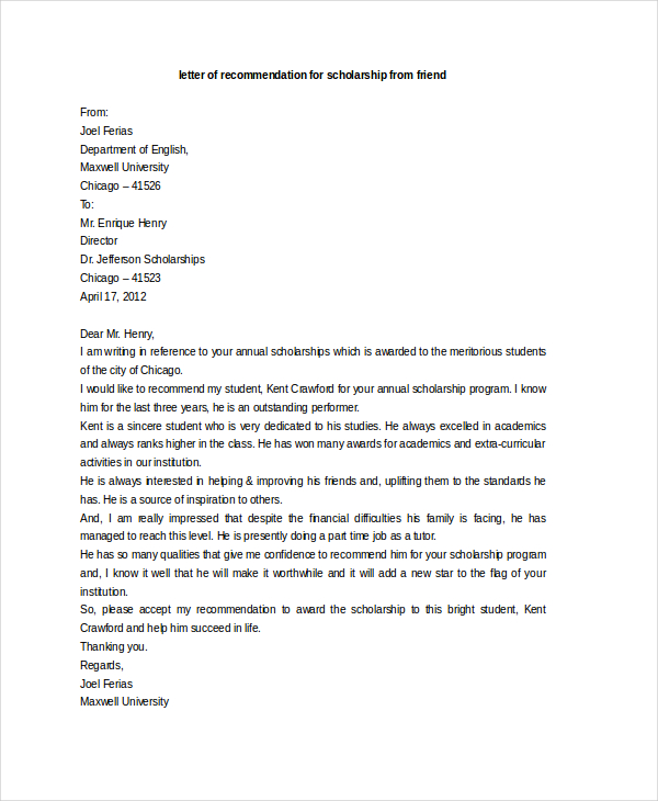 scholarship recommendation letter letter of recommendation for scholarship template business 11317