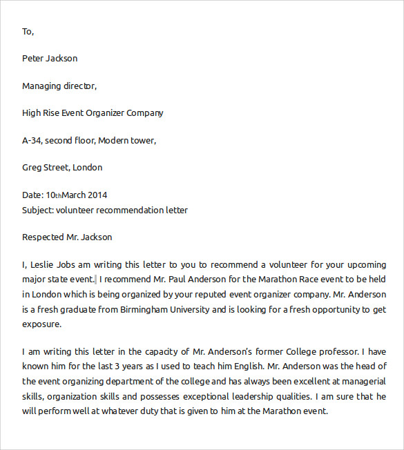 letter of recommendation for student scholarship