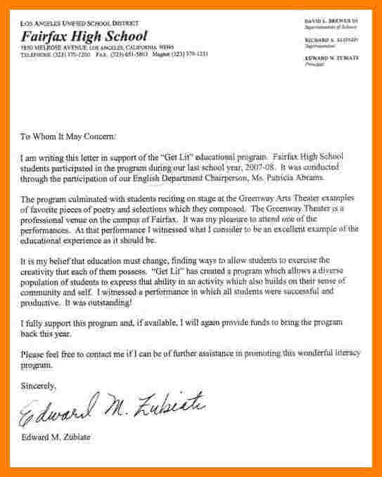 Letter Of Recommendation For Student Teacher Template Business