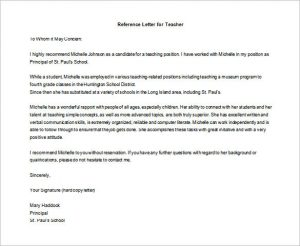 letter of recommendation for student teachers free download letter of recommendation for teaching position