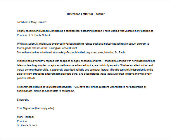 letter of recommendation for student teachers