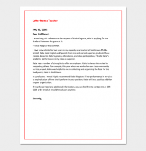 letter of recommendation for students sample recommendation letter from a teacher
