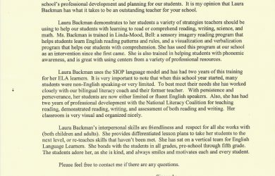 letter of recommendation for teacher letter of recommendation from elementary school teacher susan k amador 1 728