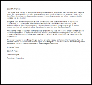 letter of recommendation for teacher position real estate agent recommendation letter