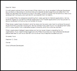 letter of recommendation for teacher position software developer recommendation letter