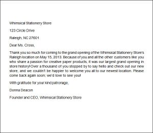 letter of recommendation from employer business thank you letter format