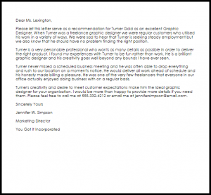 letter of recommendation from employer graphic designer recommendation letter