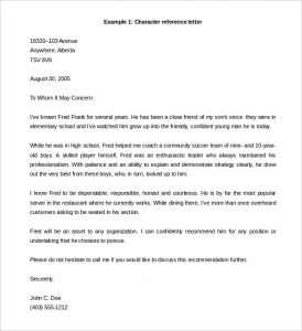 letter of recommendation template word free character reference letter template example word doc