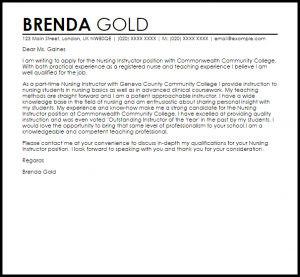 letter of recommendation templates nursing instructor