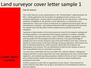 letter of reference for employment land surveyor cover letter
