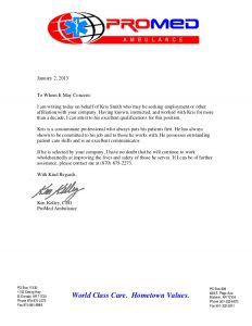 letter of reference for employment promed ambulance recommendation letter ken kelley