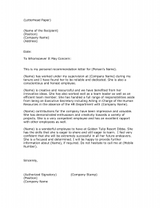 letter of reference format letter of recommendation format