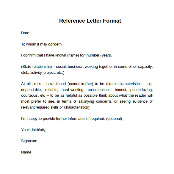 Amazing Format Of Reference Letters And Format For Letter Of Reference