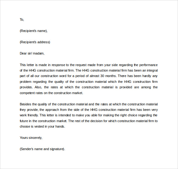 Business letter of recommendation template asafonec altavistaventures Gallery