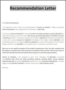 letter of reference template recommendation letter template