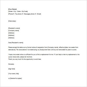 letter of resignation email employee email resignation letter word free download