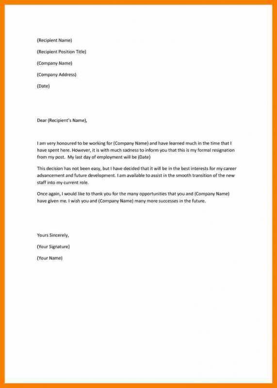 letter of resignation nursing