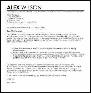 letter of resignation samples food service worker